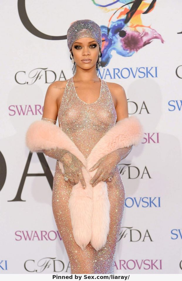 Rihanna Shows Off Her Boobs In See Through Dress 2014