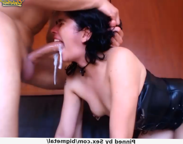 Big cock cumming in her mouth while he fucks her throat